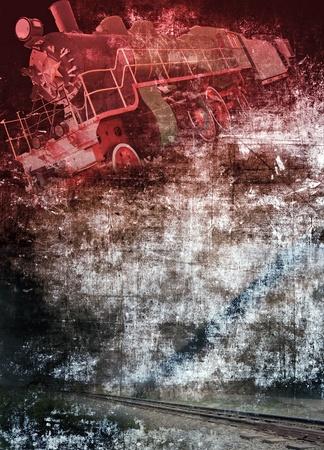 rust red: Grunge locomotora de vapor