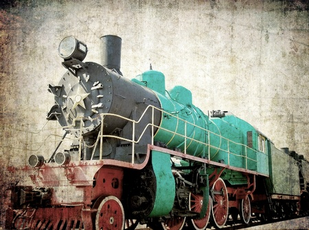 Vintage steam locomotive, grunge background photo