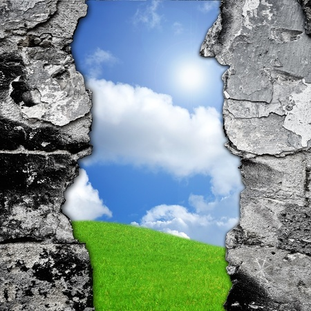 broken brick: Broken brick wall and green meadow, abstract composition