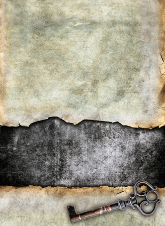 antique key: Grunge torn surface with antique key, vintage background