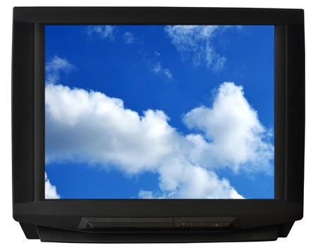 CRT TV isolated on white background photo
