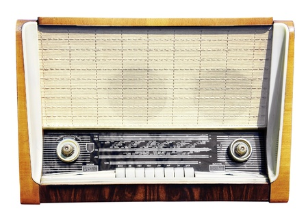 Old radio receiver isolated on white background photo