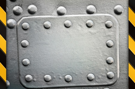 Industrial grunge background, metal plate with rivets photo