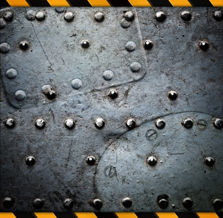 Grunge metal plate with rivets Stock Photo