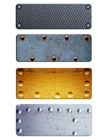 Metal plate collection isolated on white background photo