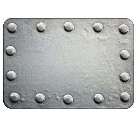 Metal plate isolated on white background photo