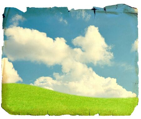 Field and sky, vintage card isolated on white background Stock Photo - 11105974