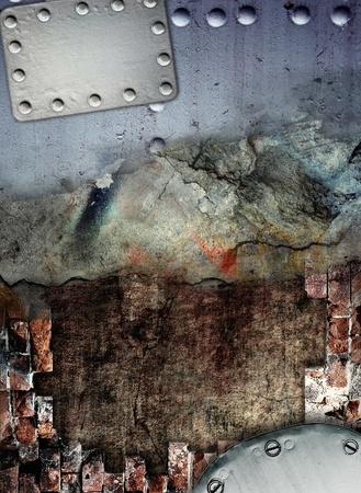 steel industry: Industrial grunge background, cracked metal plate