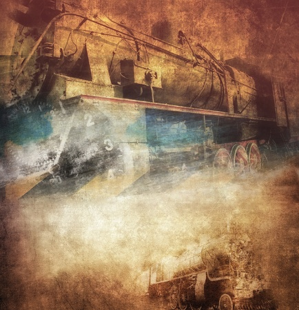 black train: Grunge steam locomotive, vintage background