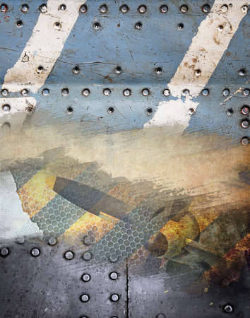 Industrial grunge background, metal plate with rivets Stock Photo - 11195330