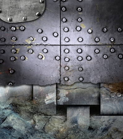number plate: Industrial grunge background, metal plate with rivets