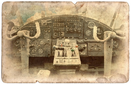 Vintage military postcard isolated on white background, cockpit dash board