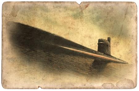 Vintage military postcard isolated on white background, flying old submarine photo