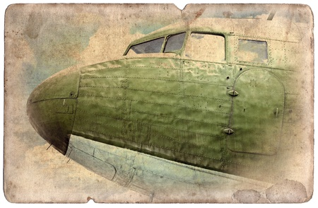 ww2: Vintage military postcard isolated on white background, ww2 bomber