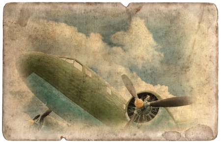 Vintage military postcard isolated on white background, ww2 old cargo plane