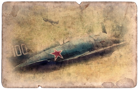 Vintage military postcard isolated on white background, ww2 fighter photo
