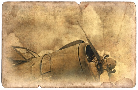 Vintage military postcard isolated on white background, old biplane photo