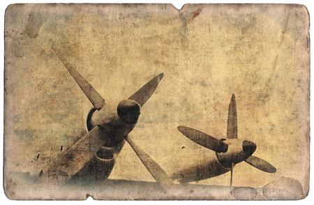 vintage postcard: Vintage military postcard isolated on white background, aircraft engines Stock Photo