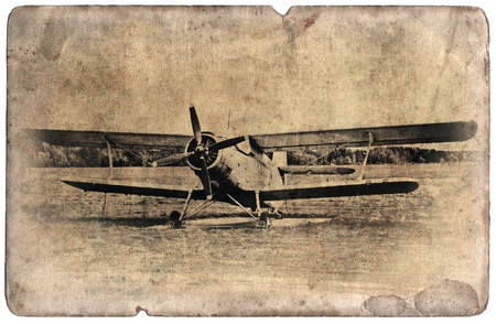 biplane: Vintage military postcard isolated on white background, old biplane