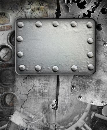 body paint: Industrial fondo del grunge, placa de metal con remaches