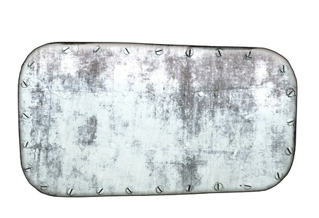 rivet: Metal plate isolated on white background