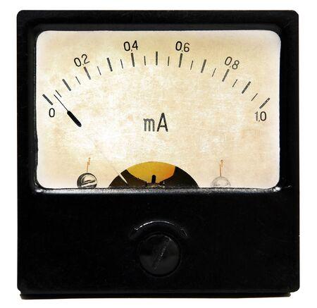 contador electrico: Amper�metro Vintage aislado sobre fondo blanco