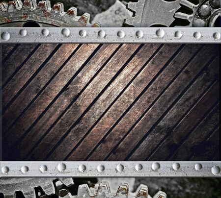 Retro technology background, wooden plate photo