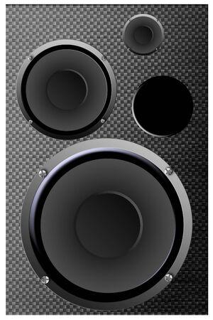 sub woofer: Speaker system isolated on white Stock Photo