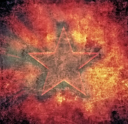 Brown grunge composition, star on scratched background photo