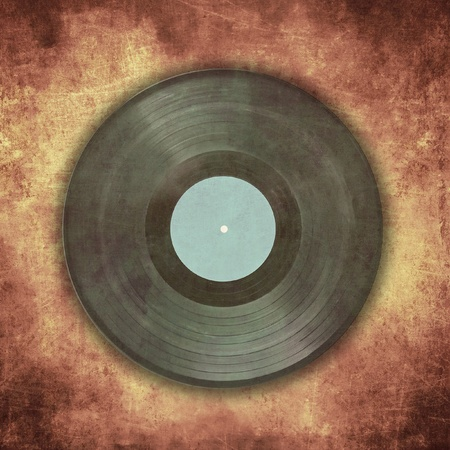 interesting music: Vintage musical background, vinyl record on scratched surface