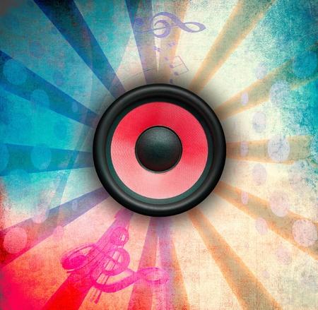 speaker system: Grunge music illustration, color background