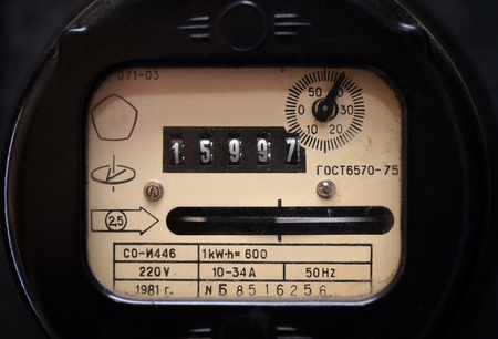 Old electric meter close up photo