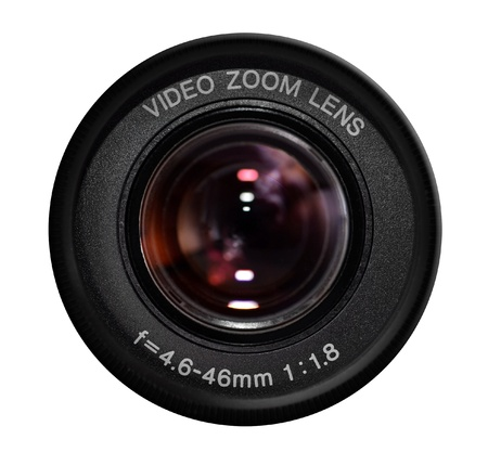 Video camera lens isolated photo