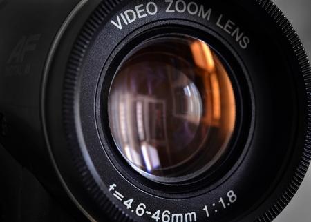 Video camera lens close up photo