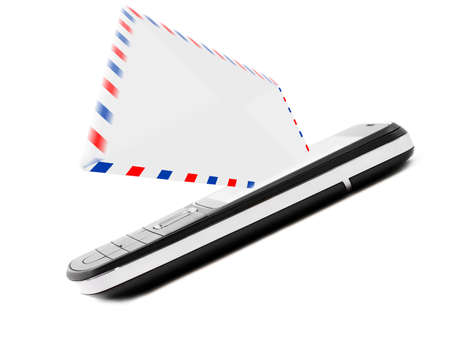 avia: Sms, e-mail concept, post envelope with mobile phone