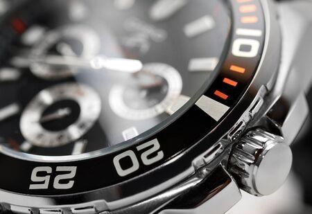 cronografo: el hombre de lujo de detalle reloj, cron�grafo de cerca Foto de archivo
