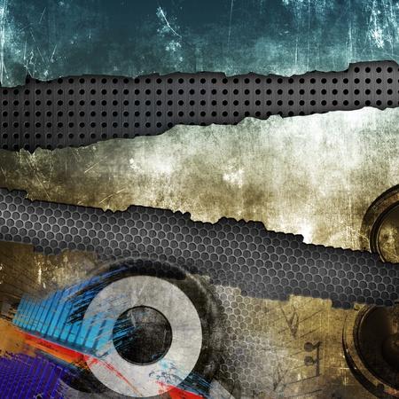 urban colors: Grunge ilustración de la música, la superficie devastada por Foto de archivo