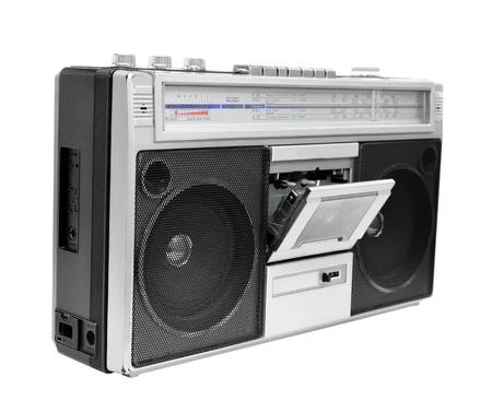 audio cassette: Vintage radio cassette recorder, isolated