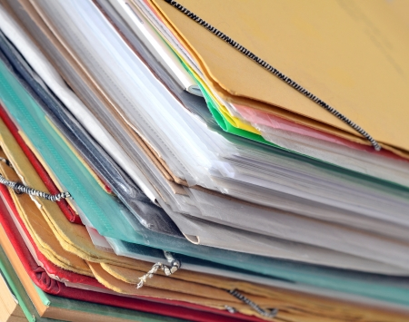 Stack of old paper files Stock Photo