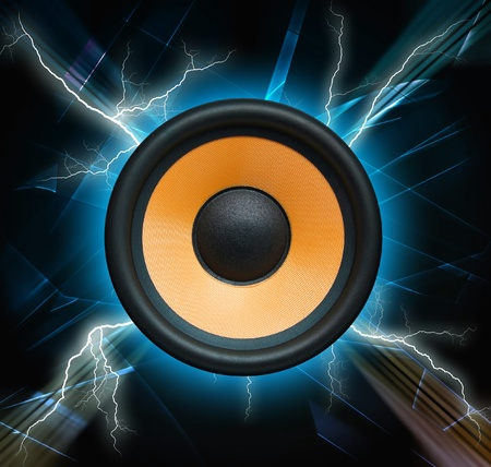 Abstract musical background, speaker system photo