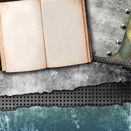 Grunge background with open book photo