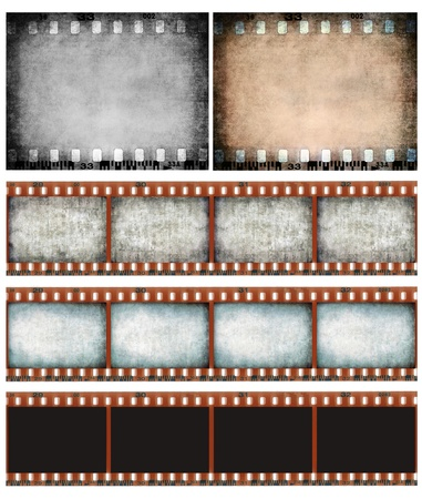 reel: Grunge color filmstrip texture, scratched photo film frame background