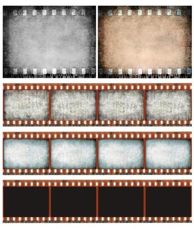 rollo pelicula: Grunge tira de película de color la textura, la película se rascó marco de foto de fondo