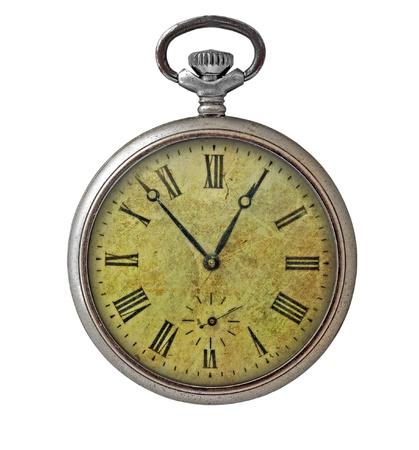 Antiguo reloj de bolsillo aislado en blanco Foto de archivo