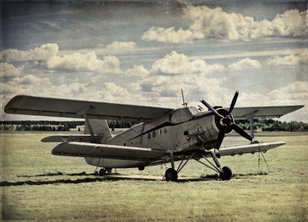 Old aircraft, vintage background