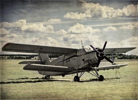 Old aircraft, vintage background