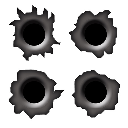 black hole: Bullet holes on white background, set