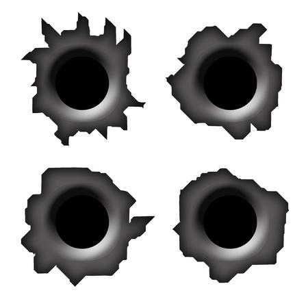 hole: Einschussl�cher auf wei�em Hintergrund, setzen