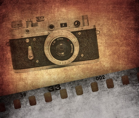 film roll: Vintage photo background, old film camera