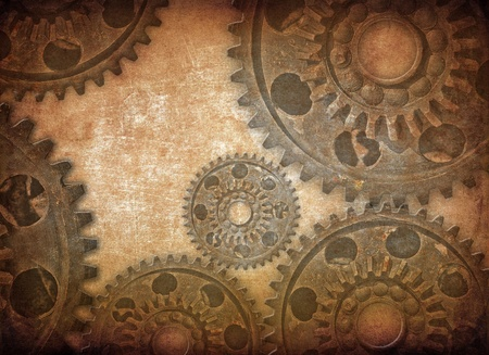 Mechanical gears, dark grunge background photo